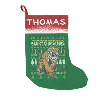 Petite Chaussette De Noël Série laide de faune de chandail de Noël de tigre