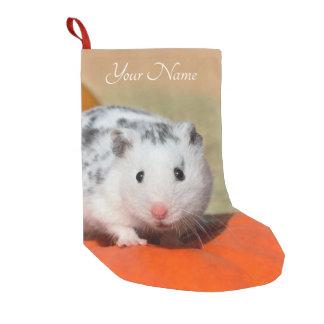 Petite Chaussette De Noël Taches noires blanches de hamster syrien mignon