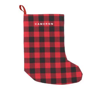 Petite Chaussette De Noël Vacances rouges rustiques de motif de plaid