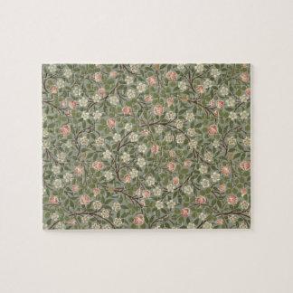 Petite conception de papier peint de fleur rose et puzzle