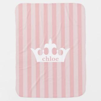 Petite couverture de princesse Crown Pink Striped Couverture De Bébé