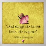 Petite et féroce affiche de papillon de Shakespear