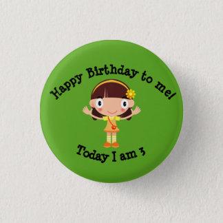 Petite fille bouton d'anniversaire de trois ans badge rond 2,50 cm