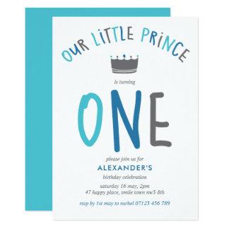 Petite invitation de fête d'anniversaire de prince