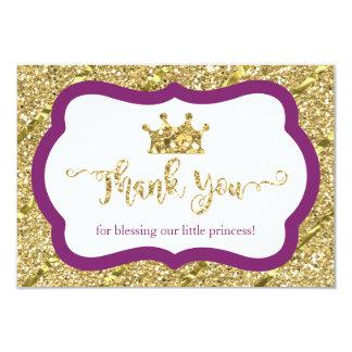 Petite princesse carte de remerciements, pourpre, carton d'invitation 8,89 cm x 12,70 cm