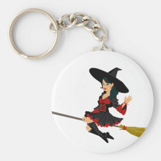Petite sorcière fascinante porte-clé rond
