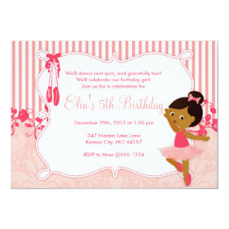 Petites invitations d'anniversaire de ballerine -