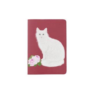 "PetitRose ""chat blanc"", support de passeport Protège-passeport"