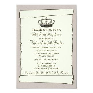 Petits invitations gris de baby shower de prince