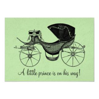 Petits invitations verts de baby shower de prince