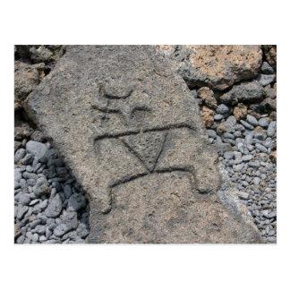 Pétroglyphe hawaïenne - carte postale