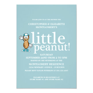 Peu de baby shower (bleu) d'arachide carton d'invitation  12,7 cm x 17,78 cm