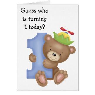 Peu de carte d'anniversaire d'enfants d'ours