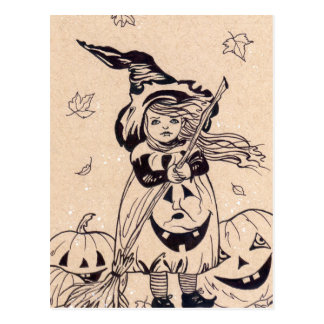 Peu de carte postale de Halloween de balai de