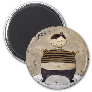 peu de pot de thé magnet rond 8 cm
