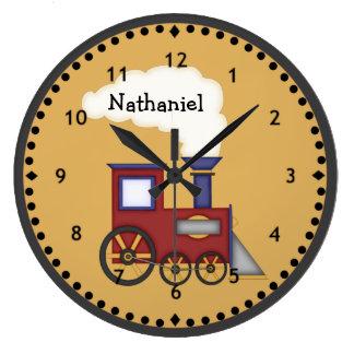 Peu d'horloge murale de moteur de train grande horloge ronde