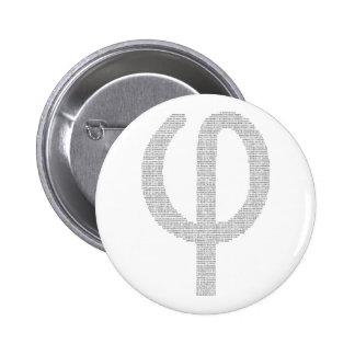 Phi (Gouden Verhouding) Ronde Button 5,7 Cm