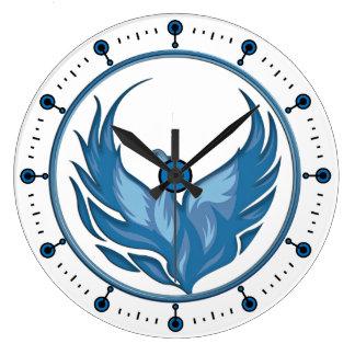 Phoenix se levant hors des cendres - horloge bleue