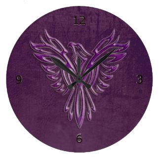 Phoenix stylisé pourpre se levant, texture en cuir grande horloge ronde