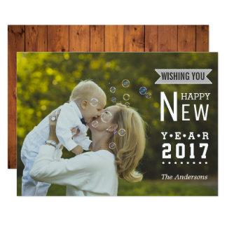 Photo 2017 moderne de bonne année de la carton d'invitation  12,7 cm x 17,78 cm