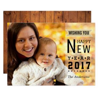 Photo 2017 simple de bonne année de la typographie carton d'invitation  12,7 cm x 17,78 cm