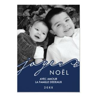 Photo bleue de Joyeux Noël Carton D'invitation 12,7 Cm X 17,78 Cm