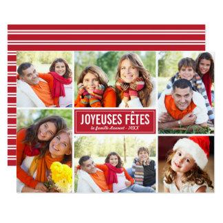 Photo Collage de Noël Carte de Voeux | en Rouge Kaart