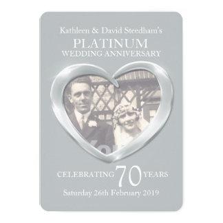 Photo de coeur de mariage de platine 70 ans carton d'invitation  12,7 cm x 17,78 cm