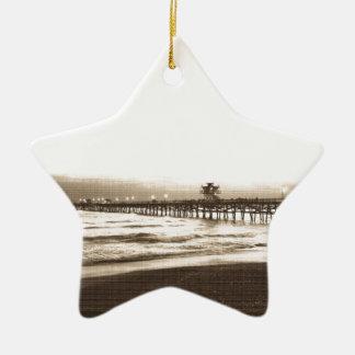 Photo de cru de plage de la Californie de pilier Ornement Étoile En Céramique