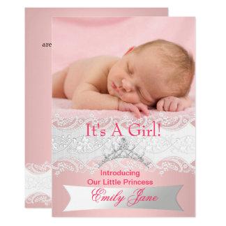 Photo de faire-part de bébé de princesse Pink New