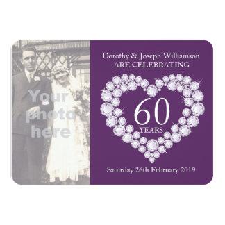 Photo de mariage de coeur de diamant 60 ans carton d'invitation  11,43 cm x 15,87 cm