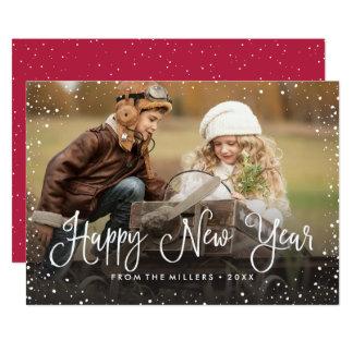 Photo de neige de bonne année carton d'invitation  12,7 cm x 17,78 cm