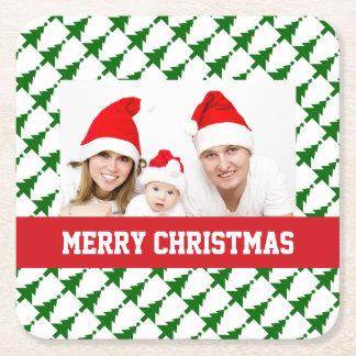 Photo de Noël de famille Dessous-de-verre Carré En Papier
