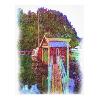 photo de peinture de petite maison et de mer prospectus 21,6 cm x 24,94 cm