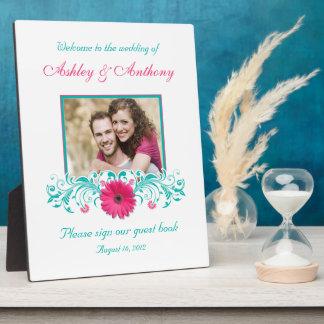 Photo florale de mariage de Gerbera de turquoise r Plaque D'affichage