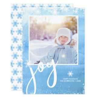 Photo joyeuse de vacances de flocon de neige carton d'invitation  12,7 cm x 17,78 cm
