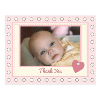 Photo rose personnalisée de bébé de Merci Carte Postale