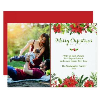 Photo rouge d'aquarelle de poinsettia de vacances carton d'invitation  12,7 cm x 17,78 cm