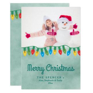Photo turquoise de vacances d'aquarelle de carton d'invitation  12,7 cm x 17,78 cm