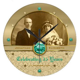 Photo verte de damassé de gemme de vert grande horloge ronde
