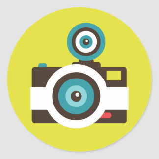Photographe coloré d'appareil-photo de FishEye Sticker Rond