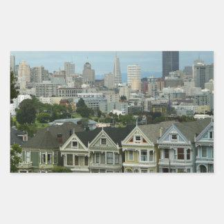 Photographie de scène de ville de rangée de carte sticker rectangulaire