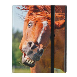 Photographie riante de cheval drôle coque iPad