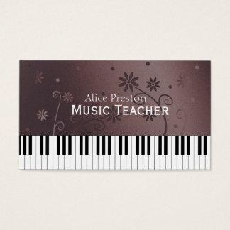 Piano floral du professeur de musique   cartes de visite