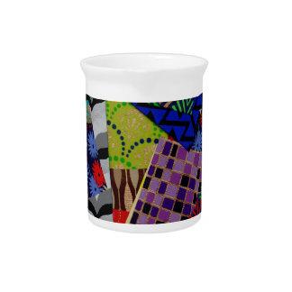 Pichet Broc de boissons avec le collage Multi-Modelé