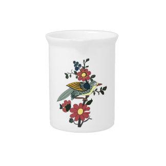 Pichet Broc de porcelaine avec l'oiseau et la fleur