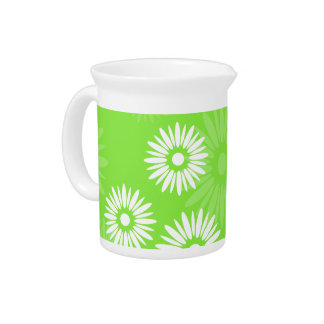 Pichet Broc vert de fleurs d'été
