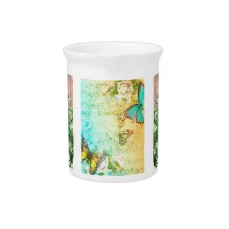 Pichet Broc vintage de porcelaine de paon et de papillon