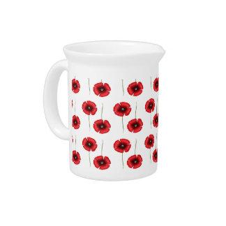 Pichet Cruche rouge de motif de fleurs de pavot