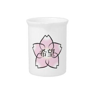 """Pichet """"Espoir, souhait, kanji de fleurs de cerisier de"""